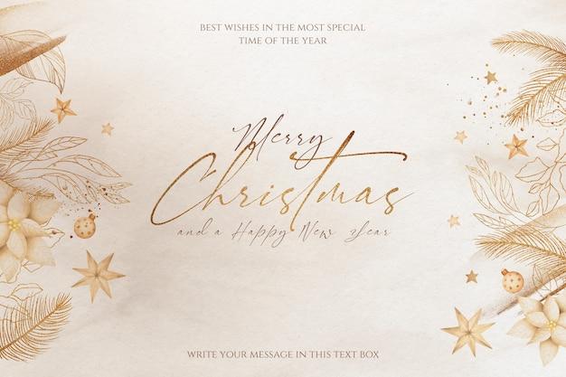 Schöner weihnachtshintergrund mit goldenen verzierungen und natur Kostenlosen PSD