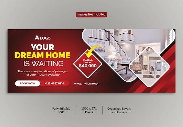 Schönes haus zum verkauf immobilien facebook cover timeline template Premium PSD