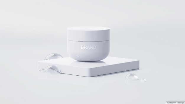 Schönheitsprodukt auf weißem podium mit wasserblase. 3d render Premium PSD