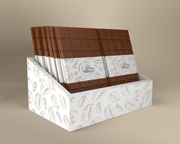 Schokoladenkasten- und papierverpackungsdesign Kostenlosen PSD