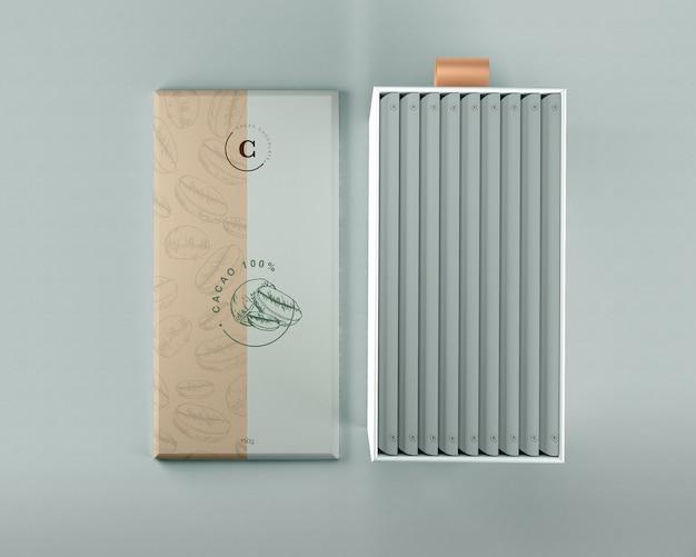 Schokoladenverpackungspapier und kartonmodell Kostenlosen PSD