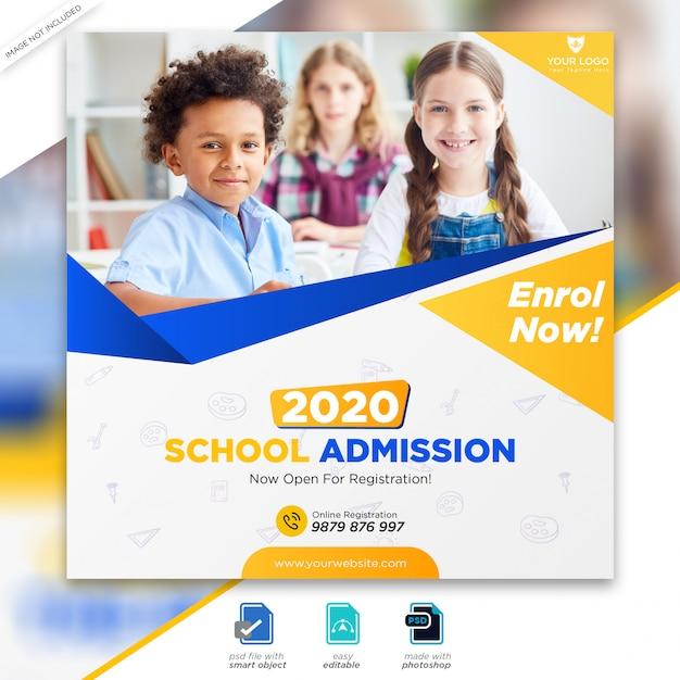 Schuleintritt marketing social media post oder quadratische flyer vorlage Premium PSD