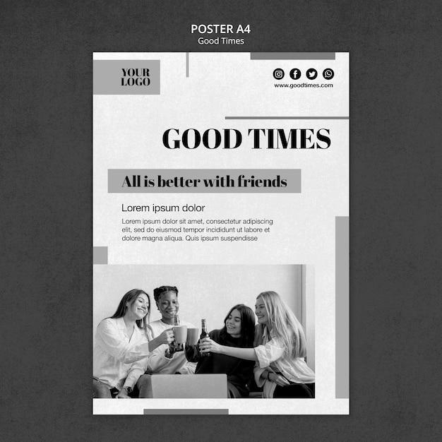 Schwarz-weiß-plakatvorlage für gute zeiten Kostenlosen PSD