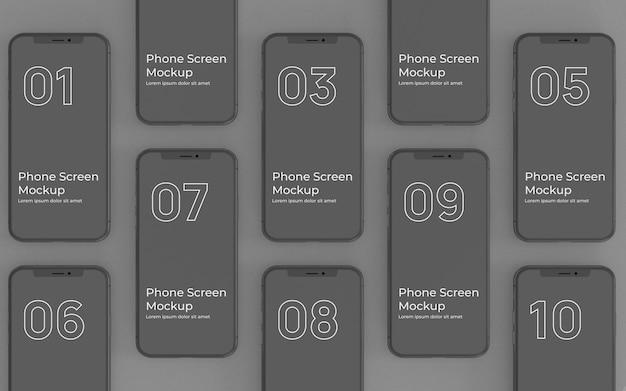 Schwarze telefonbildschirme mockup-draufsicht Premium PSD
