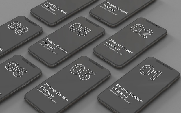 Schwarze telefonbildschirme modell links ansicht Premium PSD