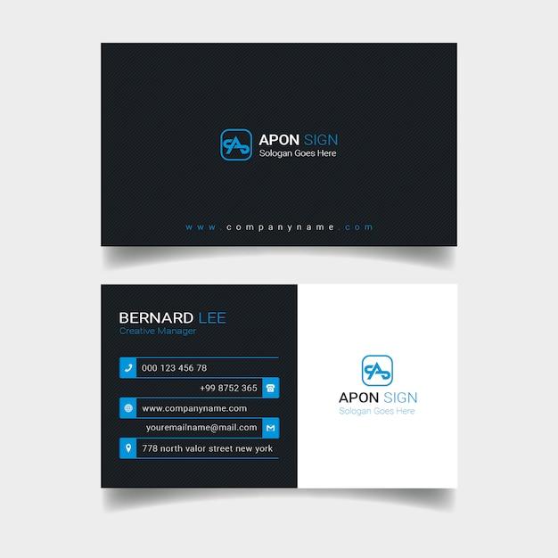 Schwarze und blaue visitenkarte Premium PSD