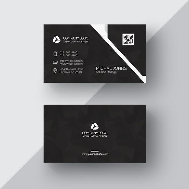 Schwarze visitenkarte mit silbernen details Kostenlosen PSD