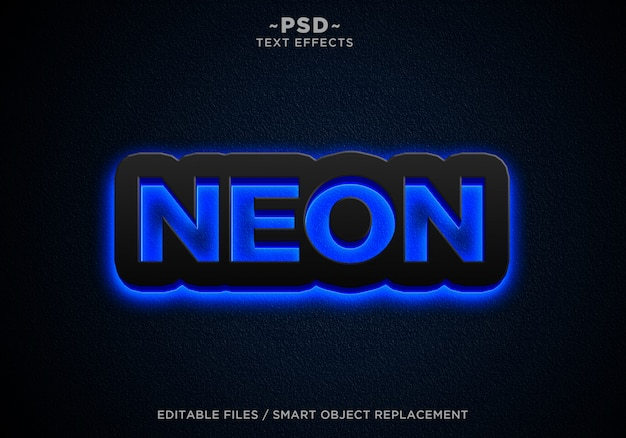 Schwarzer blauer neon bewirkt bearbeitbaren text Premium PSD