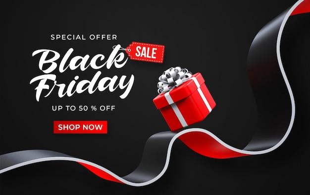 Schwarzer freitag-verkaufsfahnenschablone mit roter geschenkbox 3d Premium PSD