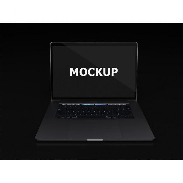 Schwarzer laptop mockup frontalansicht Kostenlosen PSD