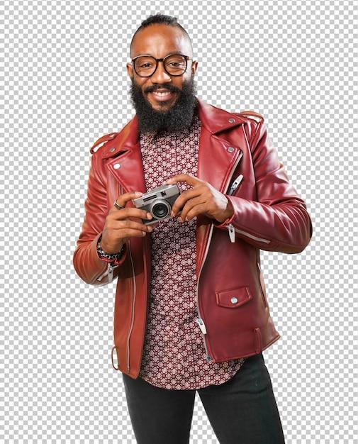 Schwarzer mann, der ein foto macht Premium PSD