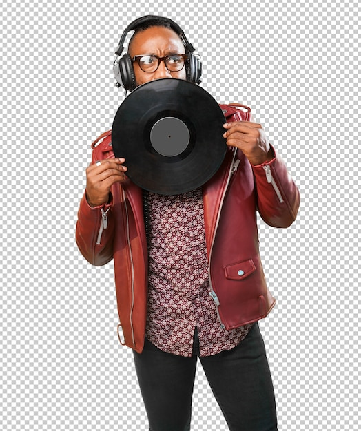 Schwarzer mann, der ein vinyl anhält Premium PSD