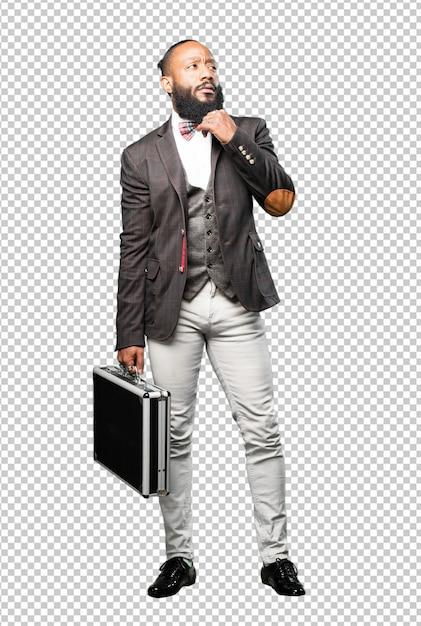 Schwarzer mann des vollen körpers, der einen aktenkoffer hält Premium PSD