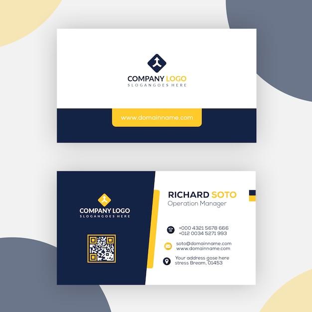 Schwarzer und gelber visitenkarte-entwurf Premium PSD