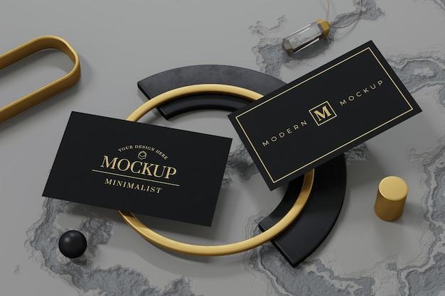 Schwarzer visitenkarten-modellentwurf im 3d-rendering Premium PSD