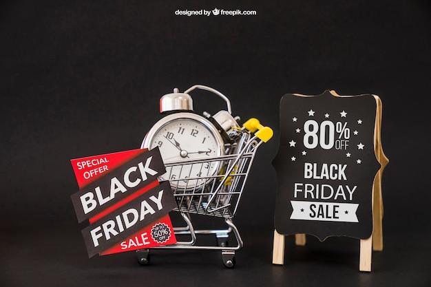Schwarzes freitag-modell mit wecker Kostenlosen PSD