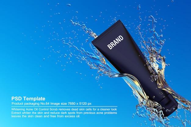 Schwarzes schönheitsprodukt im hintergrund 3d des blauen wassers übertragen Premium PSD