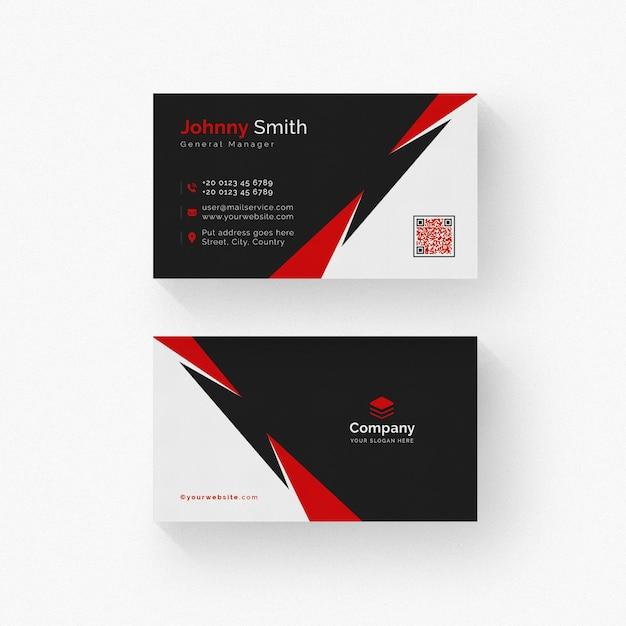 Schwarzweiss-visitenkarte mit roten details Premium PSD