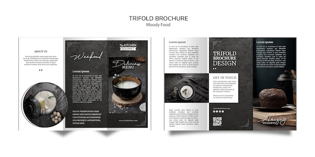 Schwermütiges lebensmittelrestaurant-dreifachgefaltetes broschüren-konzeptmodell Kostenlosen PSD