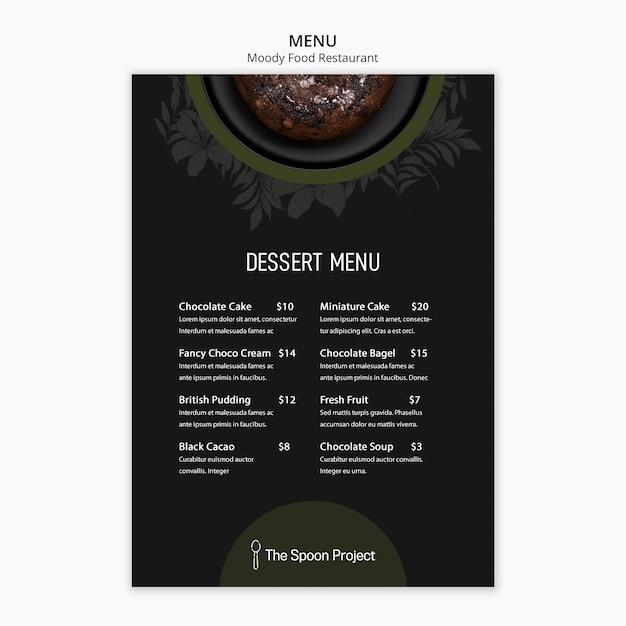 Schwermütiges lebensmittelrestaurant-schablonenkonzept für menü Kostenlosen PSD
