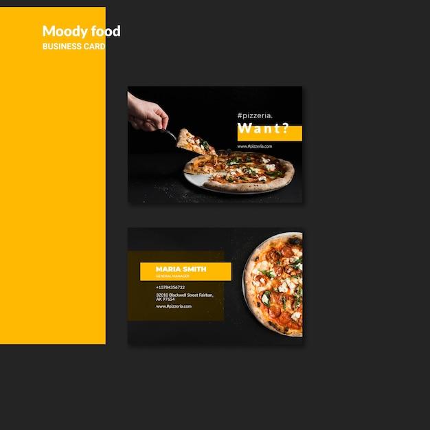 Schwermütiges restaurantlebensmittel-visitenkartemodell Kostenlosen PSD
