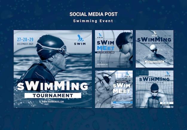 Schwimmen in sozialen medien Kostenlosen PSD