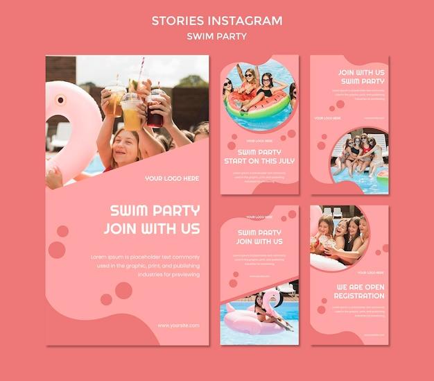 Schwimmen party instagram geschichten vorlage Premium PSD