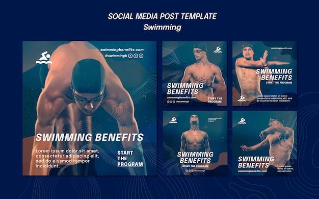 Schwimmen vorteile social media post vorlage Kostenlosen PSD