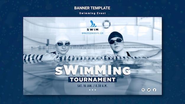 Schwimmende bannerschablone mit foto Kostenlosen PSD