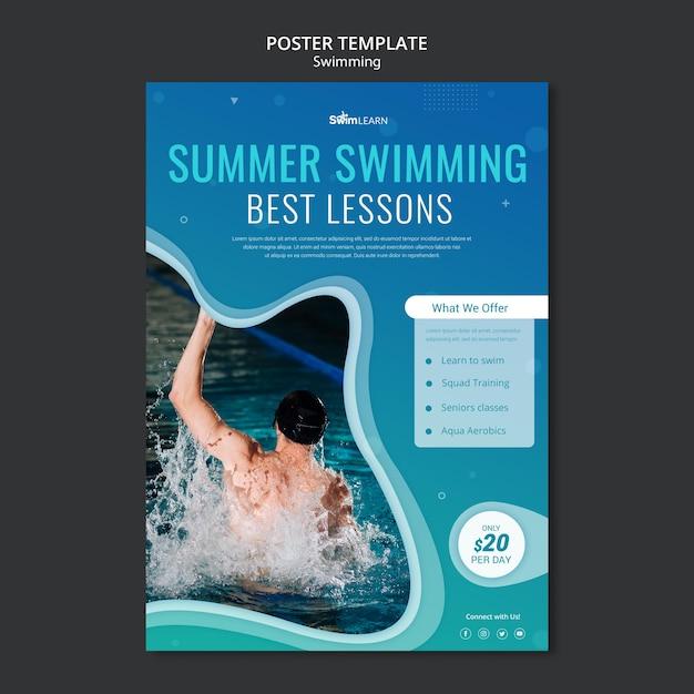 Schwimmende plakatschablone mit foto Kostenlosen PSD