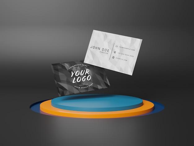 Schwimmende visitenkarten auf bühnenpodest mockup Premium PSD
