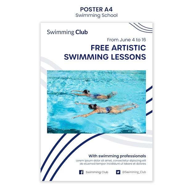 Schwimmschulplakatschablone Kostenlosen PSD