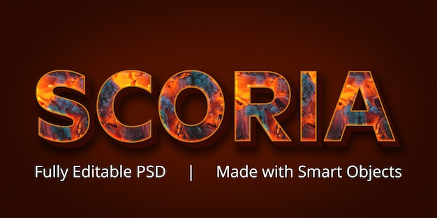 Scoria-textstil-effekt Premium PSD