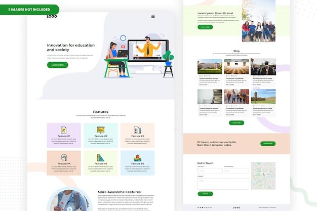 Seitengestaltung der bildungswebsite Premium PSD