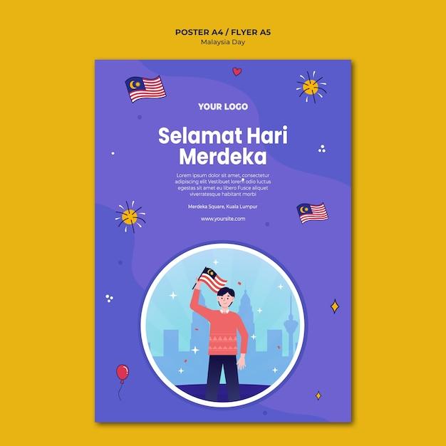Selemat hari merdeka malaysia poster vorlage Kostenlosen PSD