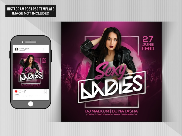 Sexy damen party flyer Premium PSD