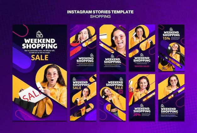 Shopping-konzept instagram geschichten vorlage Kostenlosen PSD