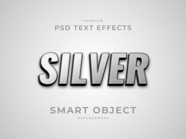 Silberne texteffekte der photoshop-ebene 3d Premium PSD