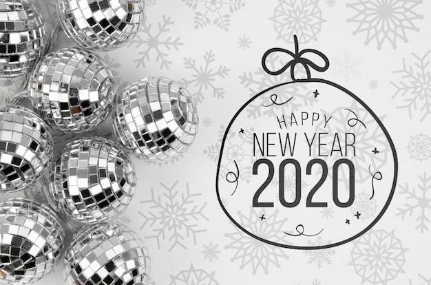 Silberne weihnachtskugeln mit guten rutsch ins neue jahr 2020 Kostenlosen PSD