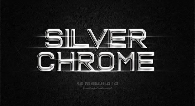 Silberner text-arteffekt des chroms 3d Premium PSD