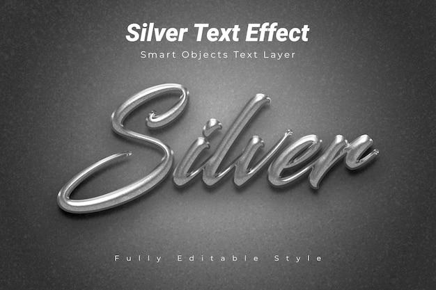 Silberner text-effekt Premium PSD