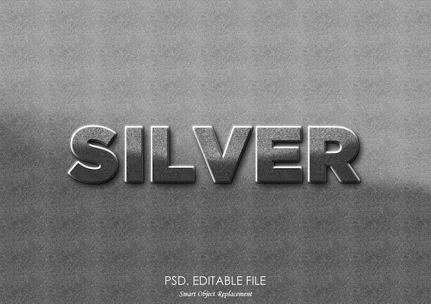 Silbernes text-effekt-modell Premium PSD
