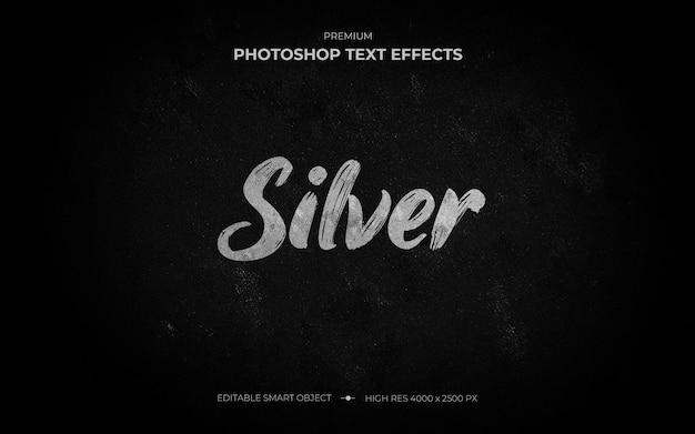 Silberpinsel-texteffekt-modell Premium PSD