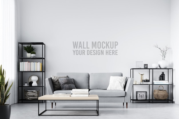 Skandinavisches wohnzimmer-tapeten-hintergrund-innenmodell Premium PSD
