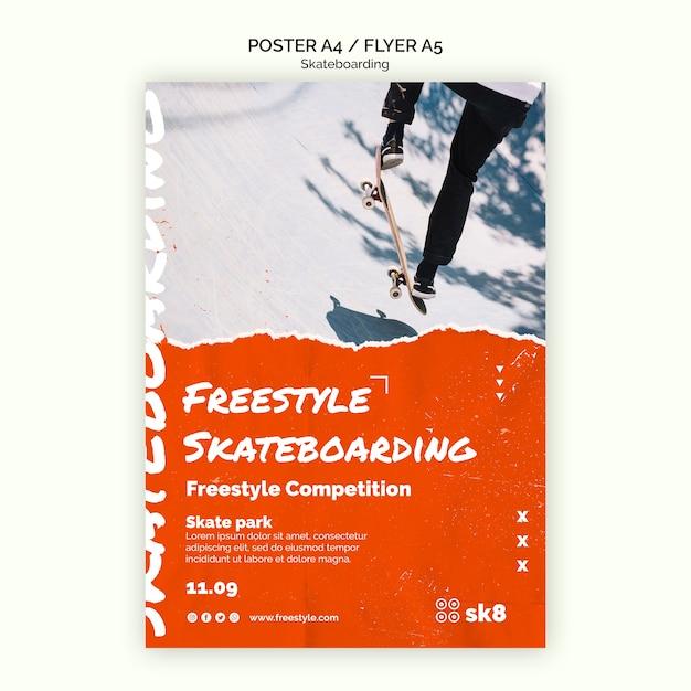 Skateboard konzept flyer vorlage Kostenlosen PSD