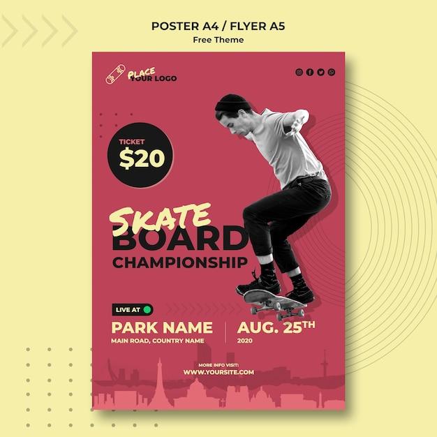 Skateboard-konzeptplakatschablone Kostenlosen PSD