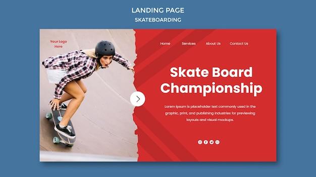 Skateboarding konzept landing page vorlage Kostenlosen PSD