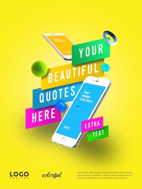 Smart phone werbung schwimmende banner Premium PSD