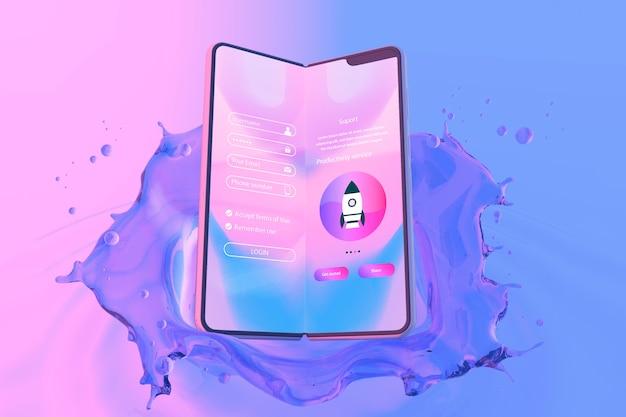 Smartphone mit anmeldungsseite und buntem flüssigem hintergrund Kostenlosen PSD