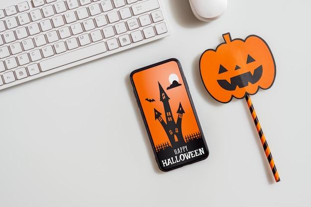 Smartphone-modell halloween-konzept Premium PSD